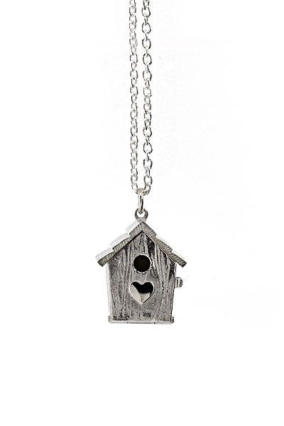 Silver Birdhouse Locket